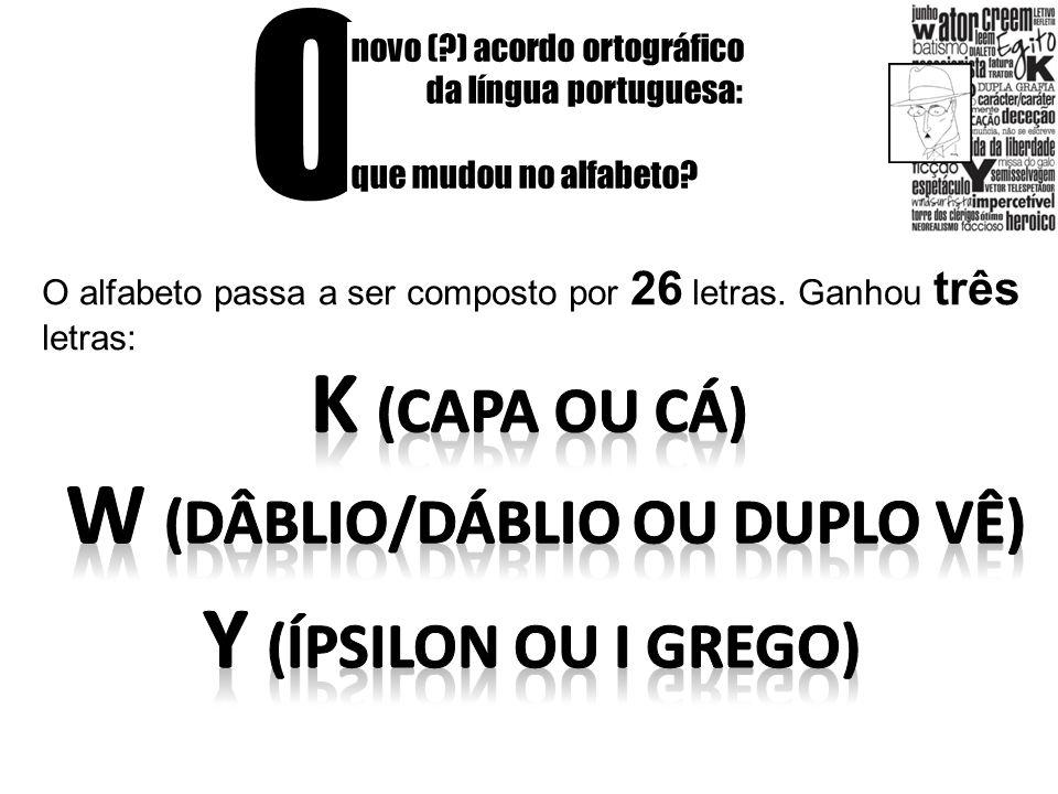 O novo (?) acordo ortográfico da língua portuguesa: que mudou no alfabeto? O alfabeto passa a ser composto por 26 letras. Ganhou três letras: