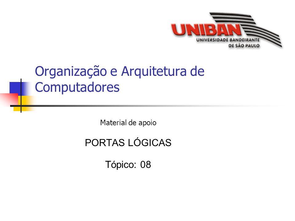 Organização e Arquitetura de Computadores Material de apoio PORTAS LÓGICAS Tópico: 08