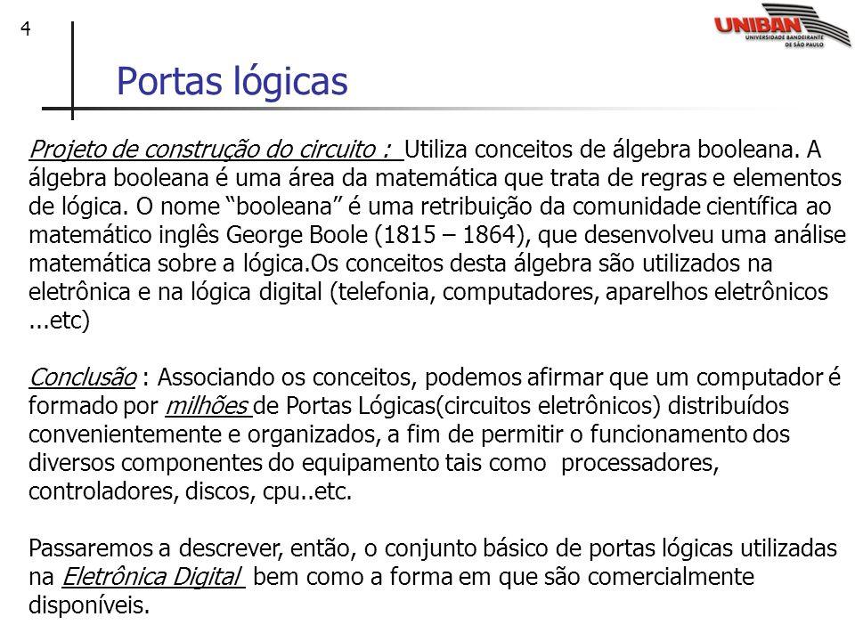4 Portas lógicas Projeto de construção do circuito : Utiliza conceitos de álgebra booleana. A álgebra booleana é uma área da matemática que trata de r