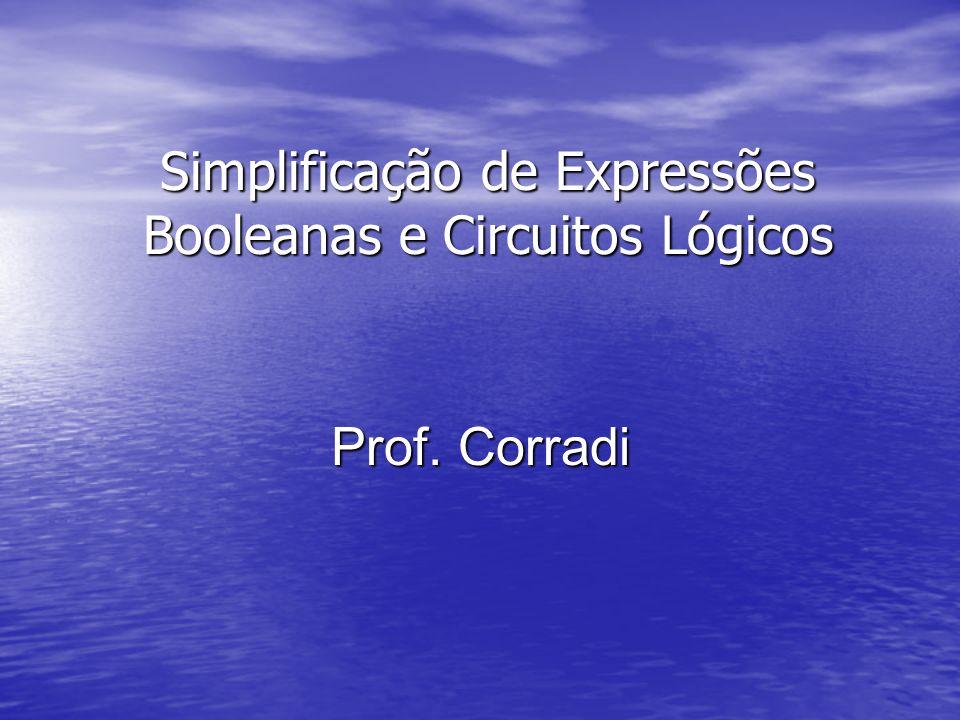Simplificação de Expressões Booleanas e Circuitos Lógicos Prof. Corradi