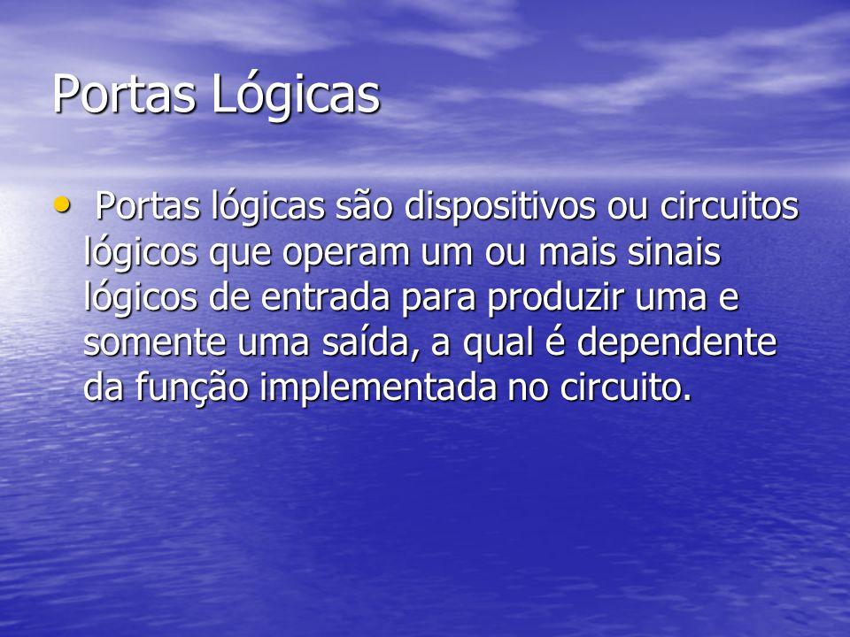 Portas Lógicas Portas lógicas são dispositivos ou circuitos lógicos que operam um ou mais sinais lógicos de entrada para produzir uma e somente uma saída, a qual é dependente da função implementada no circuito.