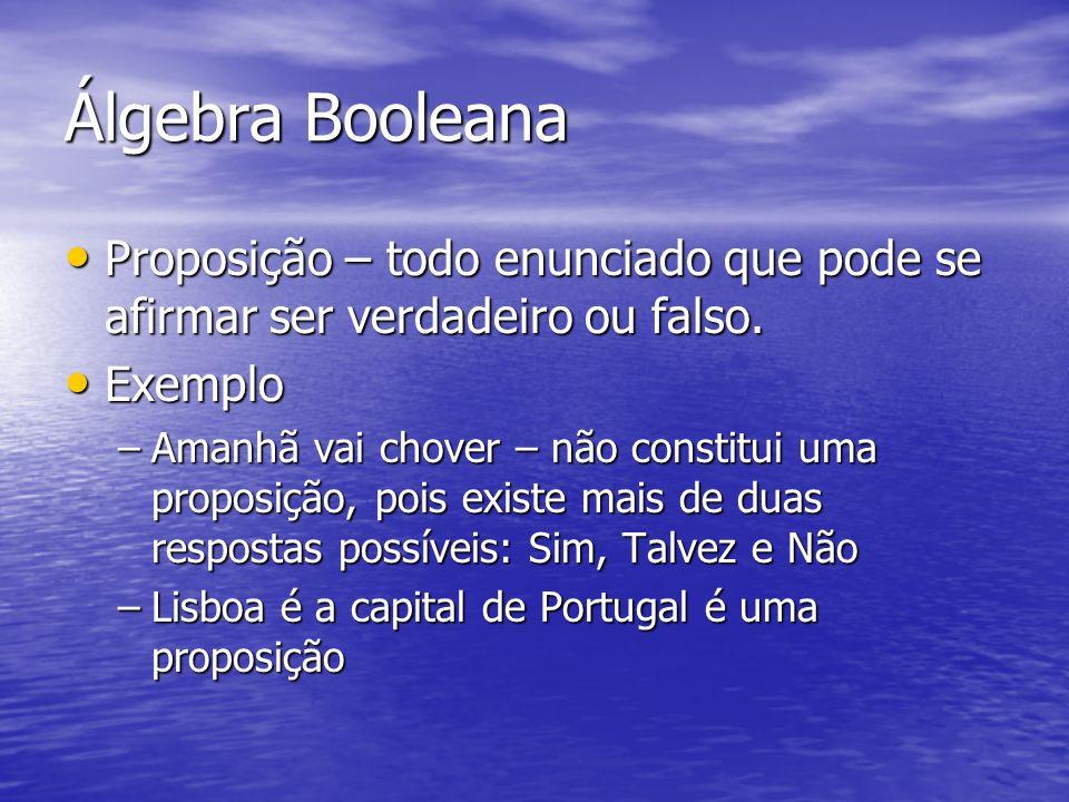 Álgebra Booleana Proposição – todo enunciado que pode se afirmar ser verdadeiro ou falso.
