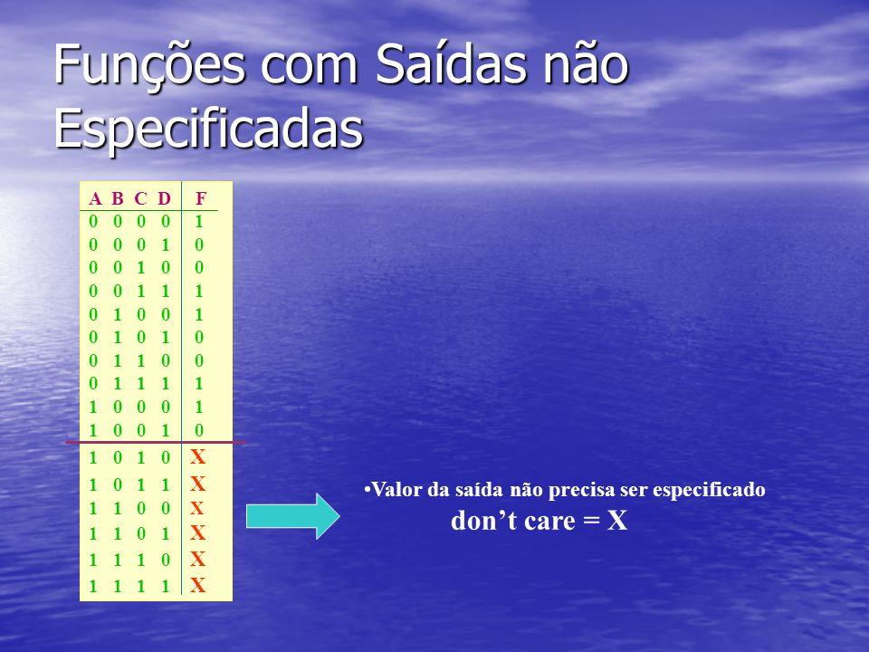 Funções com Saídas não Especificadas A B C D F 0 0 0 0 1 0 0 0 1 0 0 0 1 0 0 0 0 1 1 1 0 1 0 0 1 0 1 0 1 0 0 1 1 0 0 0 1 1 1 1 1 0 0 0 1 1 0 0 1 0 1 0 1 0 X 1 0 1 1 X 1 1 0 0 X 1 1 0 1 X 1 1 1 0 X 1 1 1 1 X Valor da saída não precisa ser especificado dont care = X