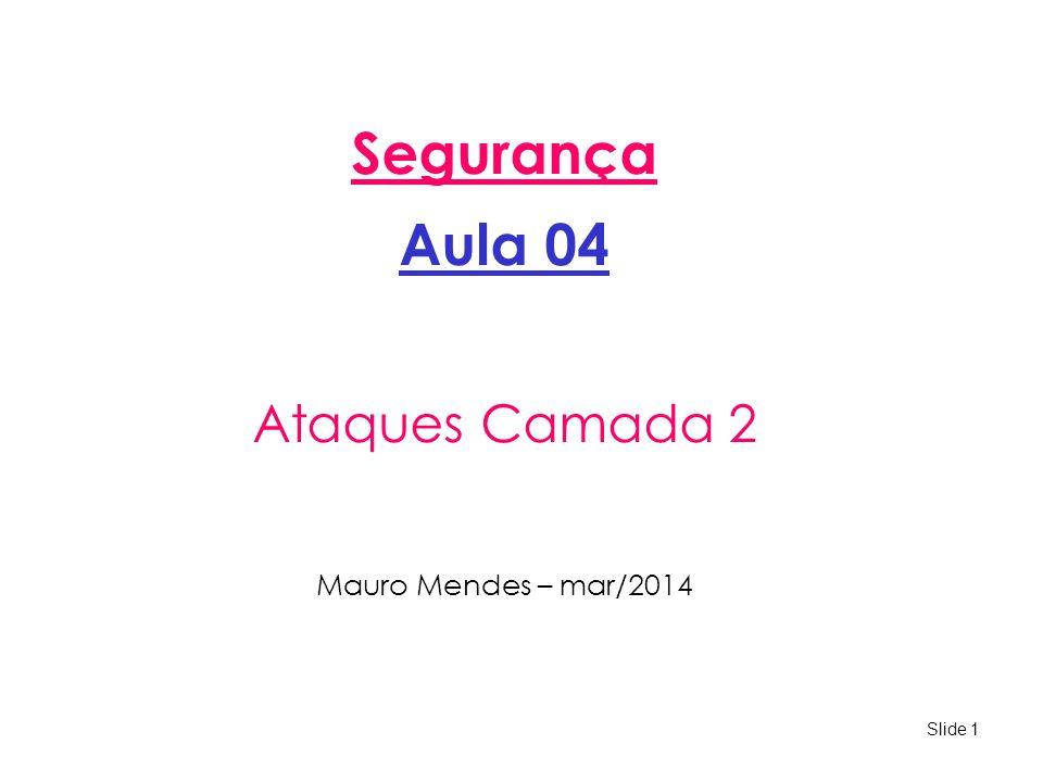 Slide 1 Segurança Aula 04 Ataques Camada 2 Mauro Mendes – mar/2014