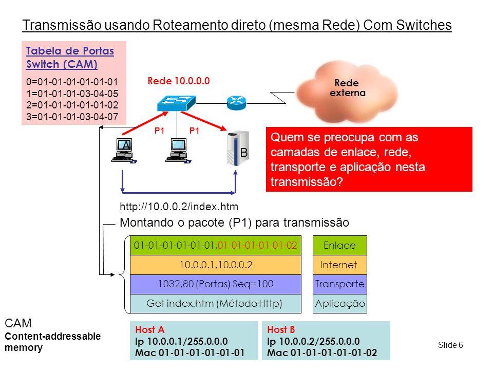Slide 7 Tranmisssão usando Switches A C Host A Ip 10.0.0.1 Mac 01-01-01-01-01-01 Host B Ip 10.0.0.2 Mac 01-01-01-01-01-02 Rede 10.0.0.0 P2 Tabela de Portas Switch P3 P1 PortaMac P101-01-01-01-01-01 P201-01-01-01-01-02 P301-01-01-01-01-03 A tabela de portas do Switch inicialmente está vazia A partir das transmissões, o Switch vai montando a tabela com base nas informações dos endereços MAC DE ORIGEM dos quadros (frames) Esta tabela é usada para encaminhar os quadros para as portas específicas dos Hosts de destino B Host C Ip 10.0.0.3 Mac 01-01-01-01-01-03