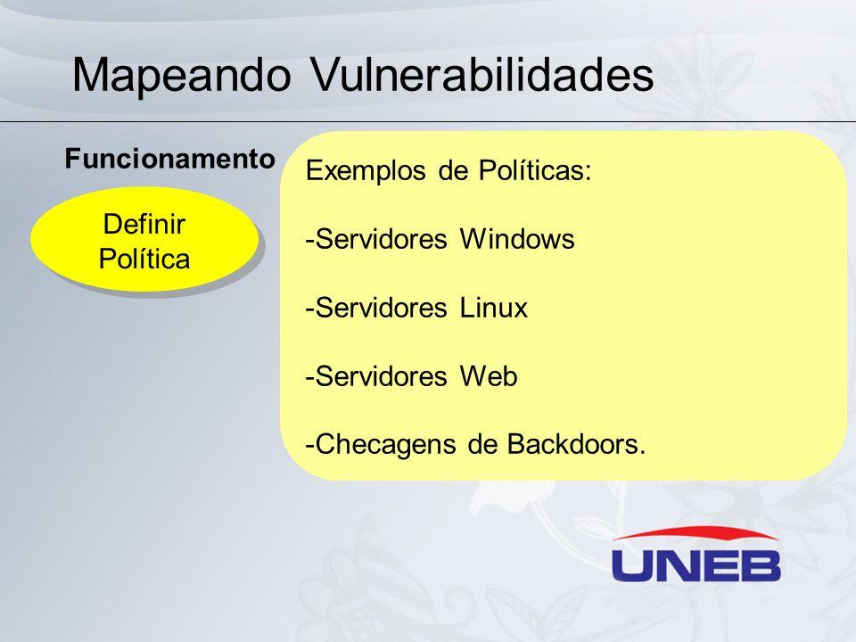 Mapeando Vulnerabilidades Funcionamento Definir Política Definir Política Exemplos de Políticas: -Servidores Windows -Servidores Linux -Servidores Web
