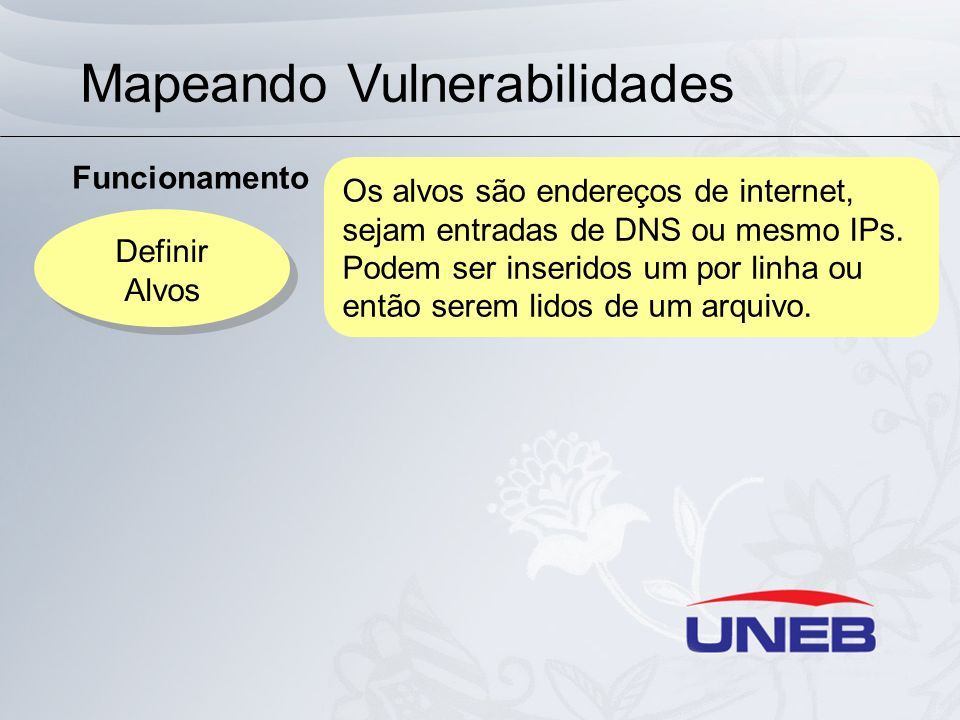 Mapeando Vulnerabilidades Funcionamento Definir Alvos Definir Alvos Os alvos são endereços de internet, sejam entradas de DNS ou mesmo IPs. Podem ser