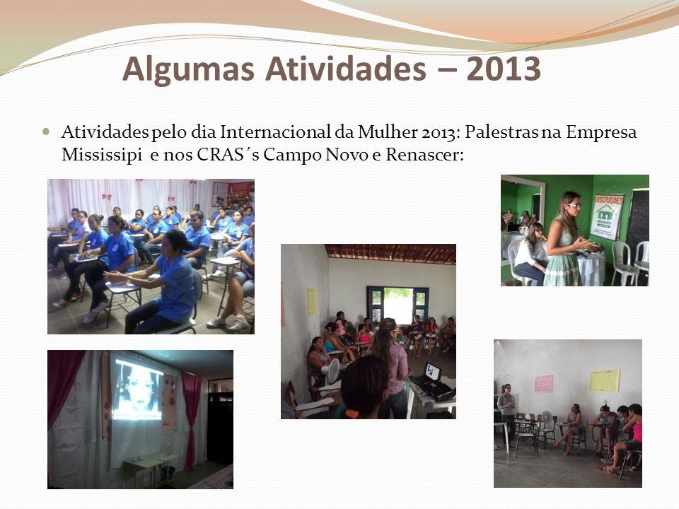 Atividades pelo dia Internacional da Mulher 2013: Palestras na Empresa Mississipi e nos CRAS´s Campo Novo e Renascer: Algumas Atividades – 2013
