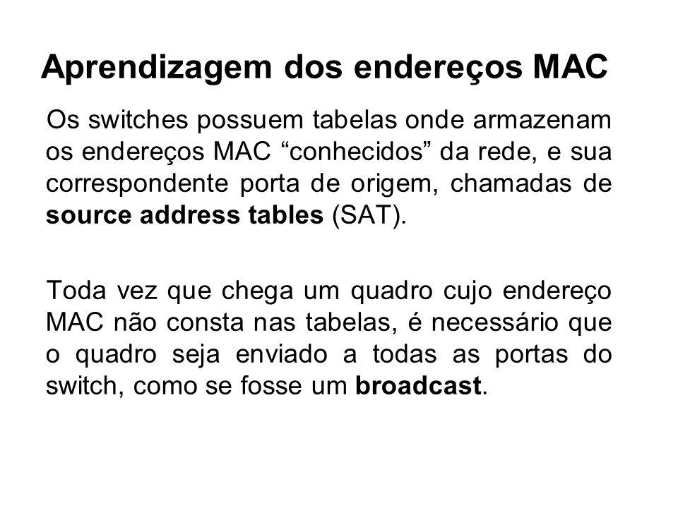 Aprendizagem dos endereços MAC Os switches possuem tabelas onde armazenam os endereços MAC conhecidos da rede, e sua correspondente porta de origem, chamadas de source address tables (SAT).