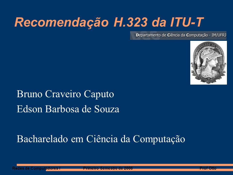 Recomendações H.323 O padrão H.323 é parte da família de recomendações ITU-T (International Telecommunication Union Telecommunication Standardization sector) H.32x O padrão H.323 é completamente independente dos aspectos relacionados à rede.