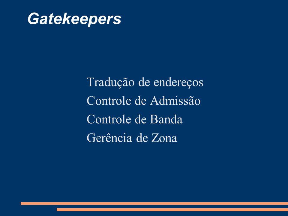 Gatekeepers Tradução de endereços Controle de Admissão Controle de Banda Gerência de Zona