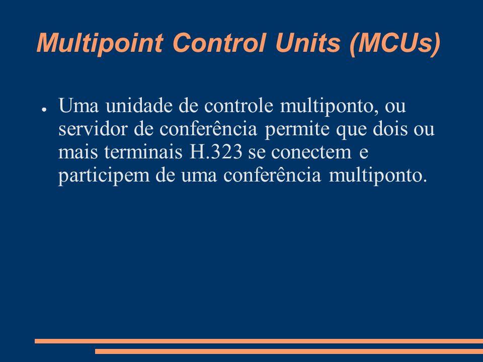 Multipoint Control Units (MCUs) Uma unidade de controle multiponto, ou servidor de conferência permite que dois ou mais terminais H.323 se conectem e