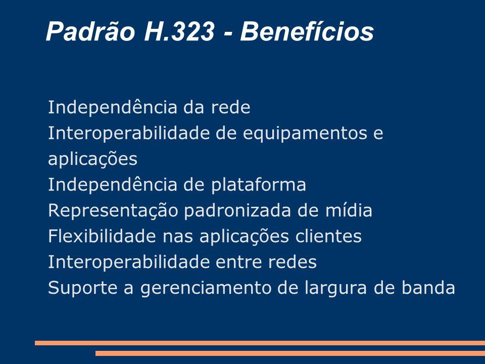 Padrão H.323 - Benefícios Independência da rede Interoperabilidade de equipamentos e aplicações Independência de plataforma Representação padronizada