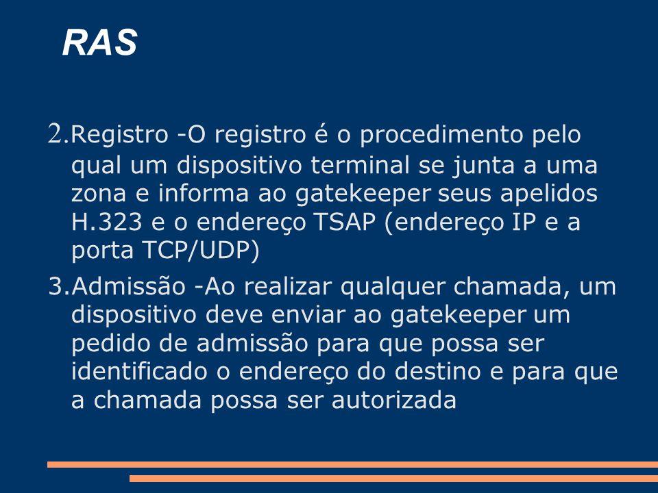RAS 2. Registro -O registro é o procedimento pelo qual um dispositivo terminal se junta a uma zona e informa ao gatekeeper seus apelidos H.323 e o end