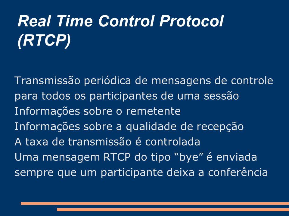 Real Time Control Protocol (RTCP) Transmissão periódica de mensagens de controle para todos os participantes de uma sessão Informações sobre o remeten