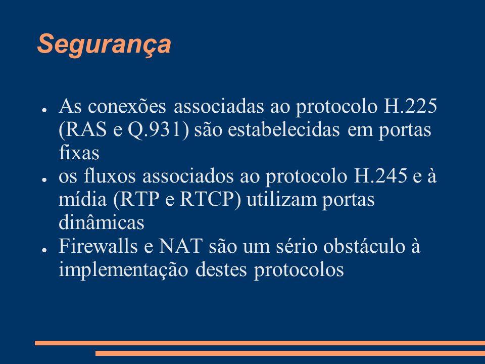 Segurança As conexões associadas ao protocolo H.225 (RAS e Q.931) são estabelecidas em portas fixas os fluxos associados ao protocolo H.245 e à mídia