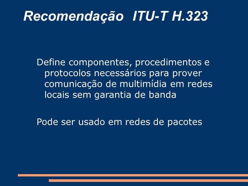 Protocolos de Transporte IP TCPUDP Call Control RAS H.225 H.245 RTCPRTP Audio Streams Serviço ConfiávelServiço Não-confiável TCP: informações de controle e dados UDP: mensagens multimídia