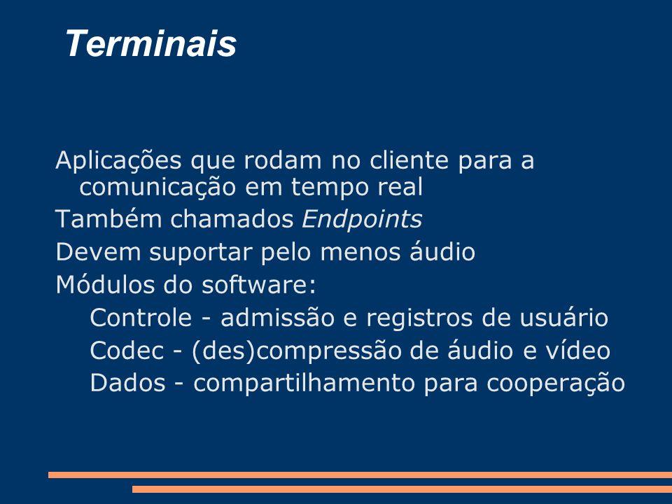 Terminais Aplicações que rodam no cliente para a comunicação em tempo real Também chamados Endpoints Devem suportar pelo menos áudio Módulos do softwa