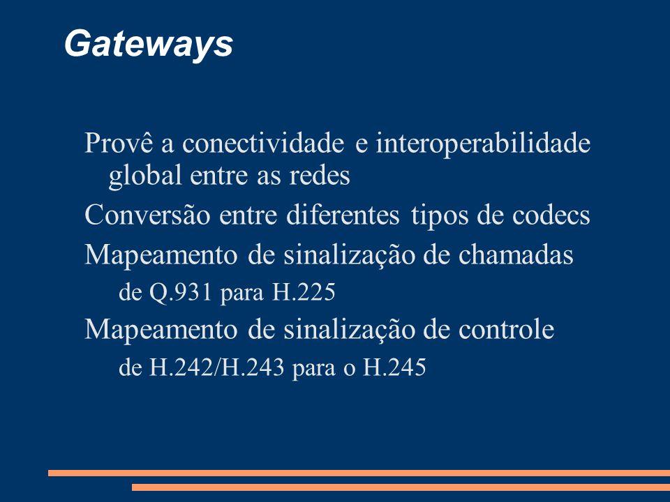 Gateways Provê a conectividade e interoperabilidade global entre as redes Conversão entre diferentes tipos de codecs Mapeamento de sinalização de cham