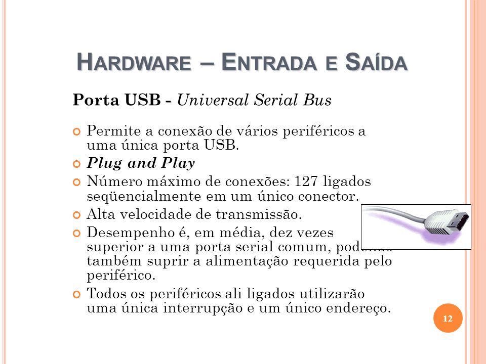 H ARDWARE – E NTRADA E S AÍDA - Porta USB - Universal Serial Bus Permite a conexão de vários periféricos a uma única porta USB. Plug and Play Número m
