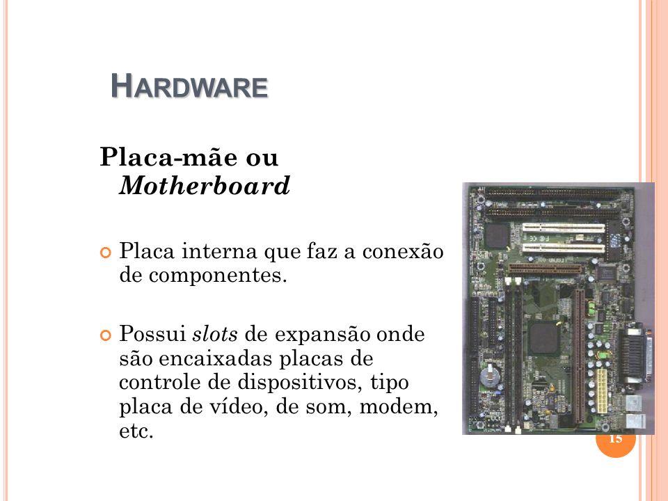 H ARDWARE Placa-mãe ou Motherboard Placa interna que faz a conexão de componentes. Possui slots de expansão onde são encaixadas placas de controle de