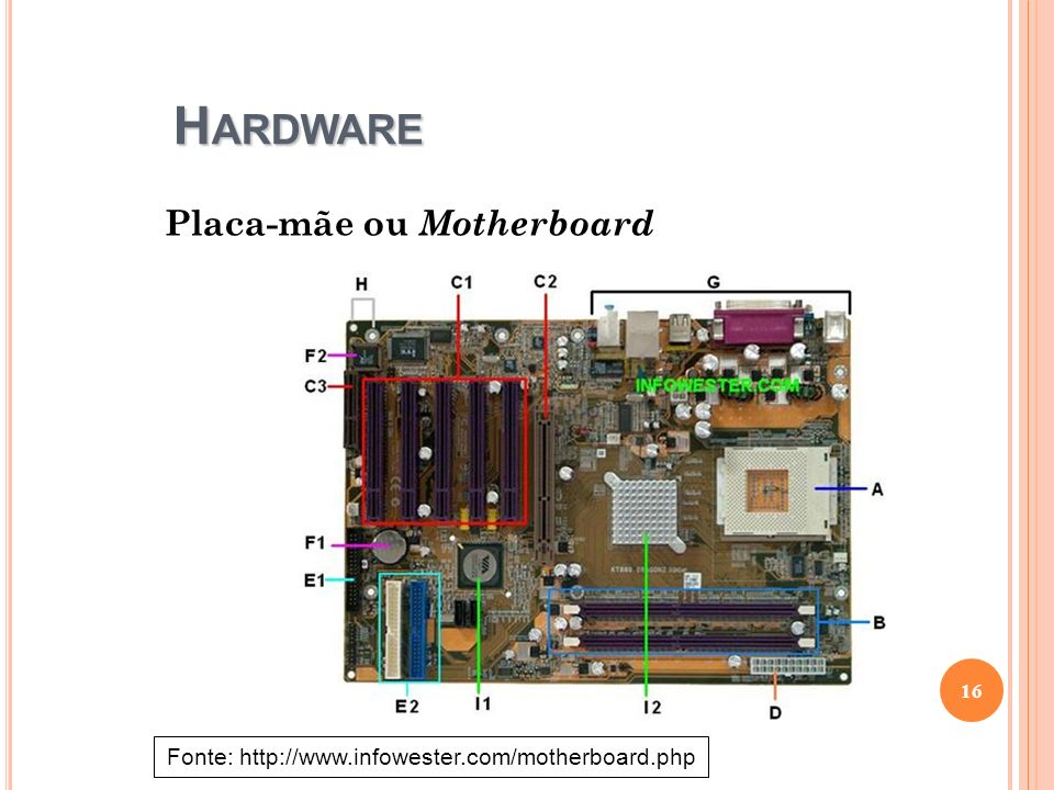 H ARDWARE Placa-mãe ou Motherboard 16 Fonte: http://www.infowester.com/motherboard.php