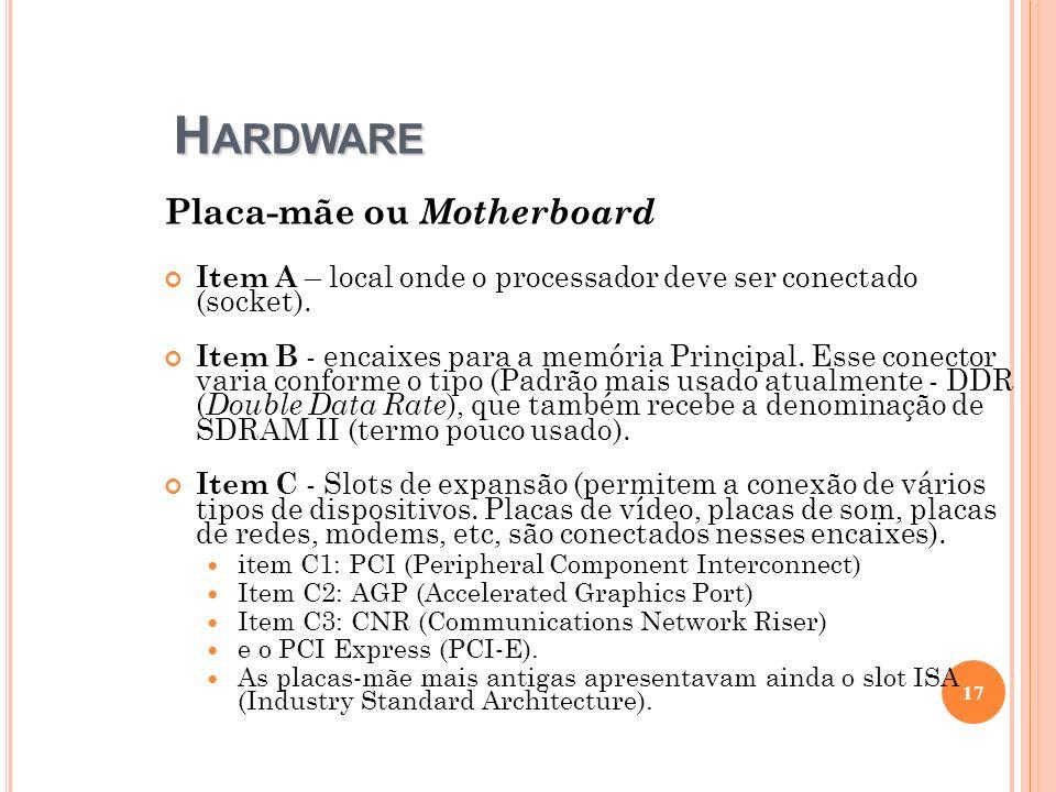 H ARDWARE Placa-mãe ou Motherboard Item A – local onde o processador deve ser conectado (socket). Item B - encaixes para a memória Principal. Esse con