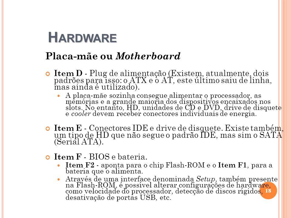 H ARDWARE Placa-mãe ou Motherboard Item D - Plug de alimentação (Existem, atualmente, dois padrões para isso: o ATX e o AT, este último saiu de linha,