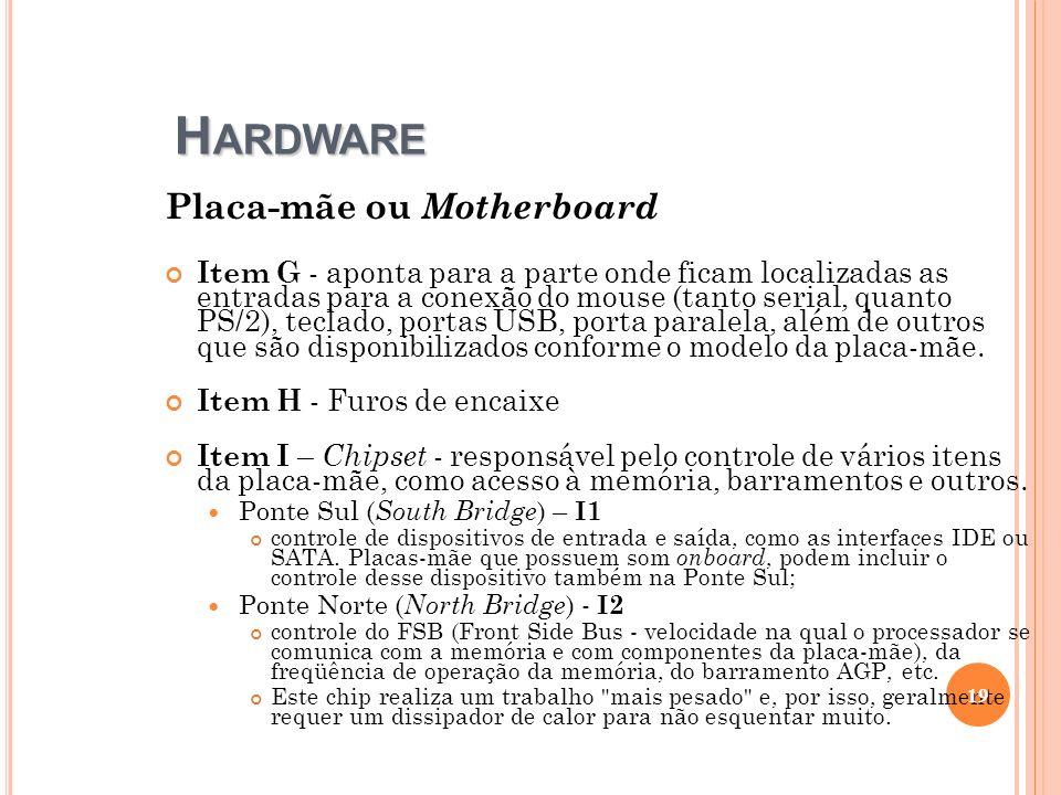 H ARDWARE Placa-mãe ou Motherboard Item G - aponta para a parte onde ficam localizadas as entradas para a conexão do mouse (tanto serial, quanto PS/2)
