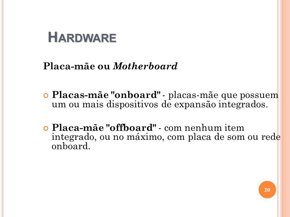 H ARDWARE Placa-mãe ou Motherboard Placas-mãe