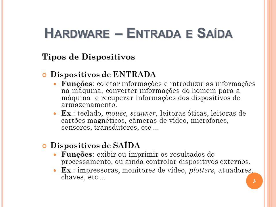 H ARDWARE – E NTRADA E S AÍDA Tipos de Dispositivos Dispositivos de ENTRADA Funções Funções : coletar informações e introduzir as informações na máqui