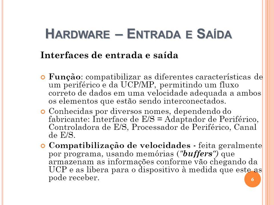 H ARDWARE – E NTRADA E S AÍDA Interfaces de entrada e saída Função : compatibilizar as diferentes características de um periférico e da UCP/MP, permit
