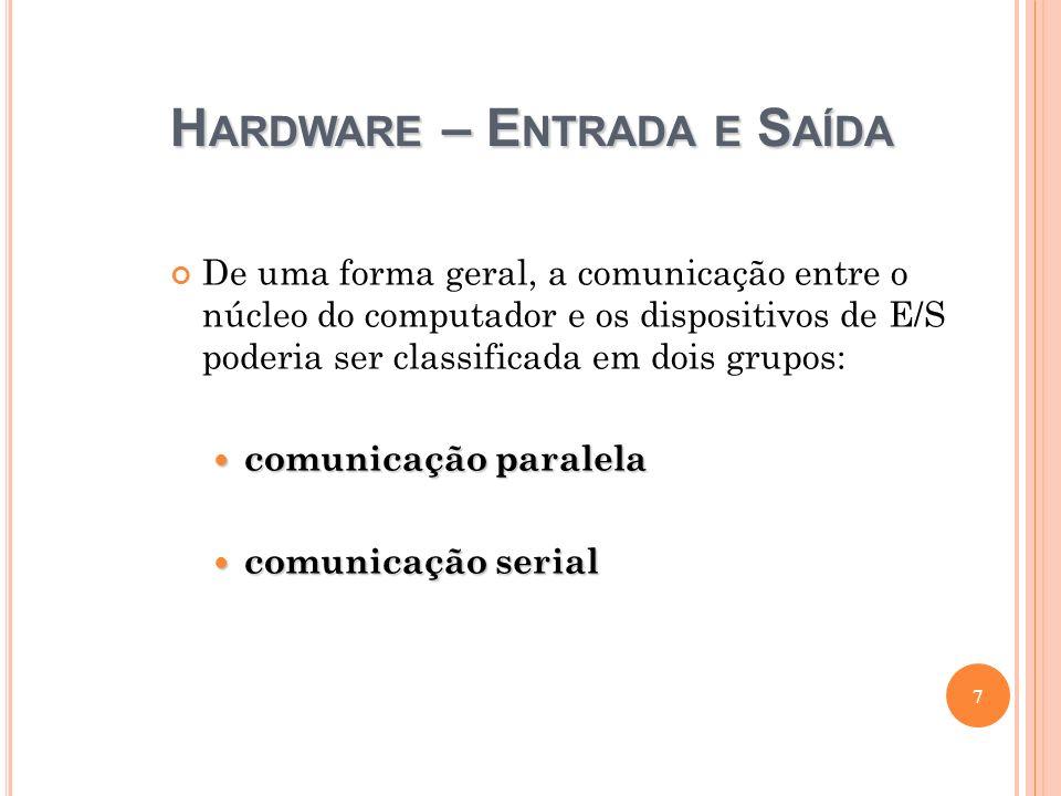 H ARDWARE – E NTRADA E S AÍDA De uma forma geral, a comunicação entre o núcleo do computador e os dispositivos de E/S poderia ser classificada em dois