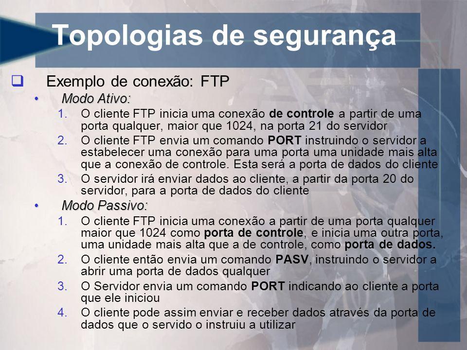 Topologias de segurança Exemplo de conexão: FTP Modo Ativo:Modo Ativo: 1.O cliente FTP inicia uma conexão de controle a partir de uma porta qualquer,