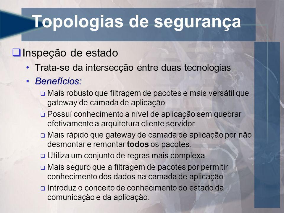 Topologias de segurança Inspeção de estado Trata-se da intersecção entre duas tecnologias Benefícios:Benefícios: Mais robusto que filtragem de pacotes