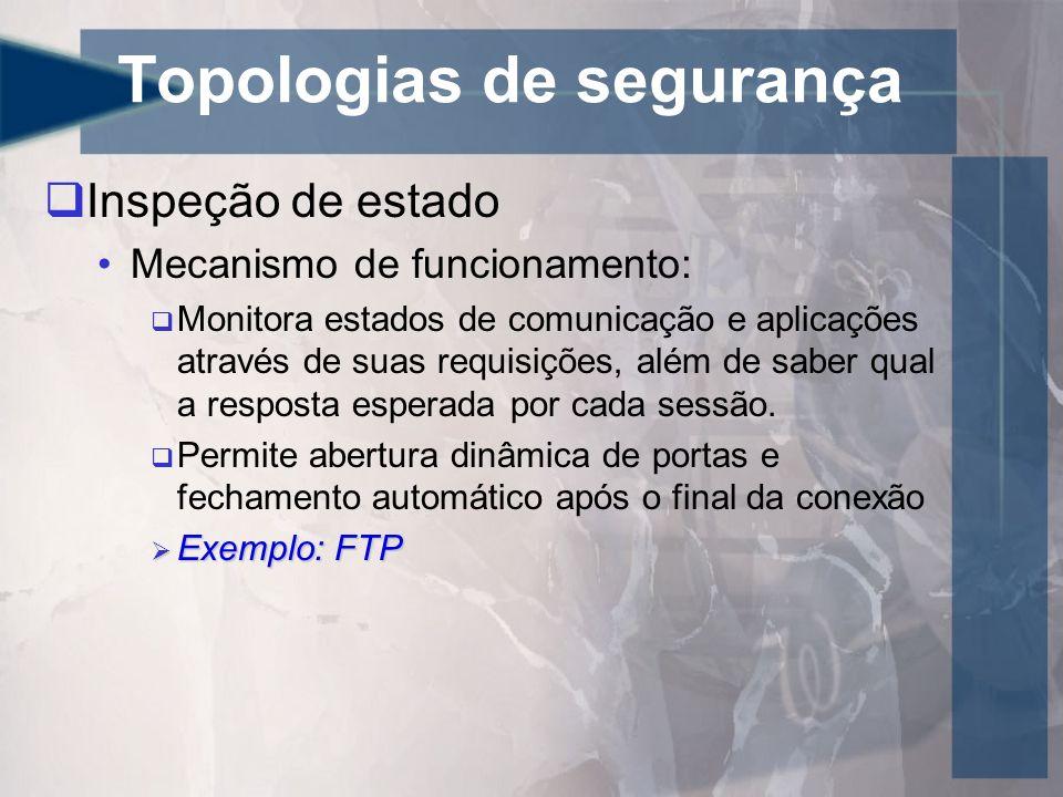 Topologias de segurança Inspeção de estado Mecanismo de funcionamento: Monitora estados de comunicação e aplicações através de suas requisições, além