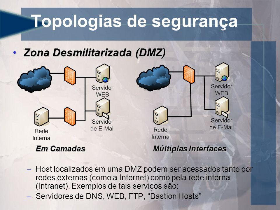 Topologias de segurança Zona Desmilitarizada (DMZ)Zona Desmilitarizada (DMZ) Em CamadasMúltiplas Interfaces –Host localizados em uma DMZ podem ser ace