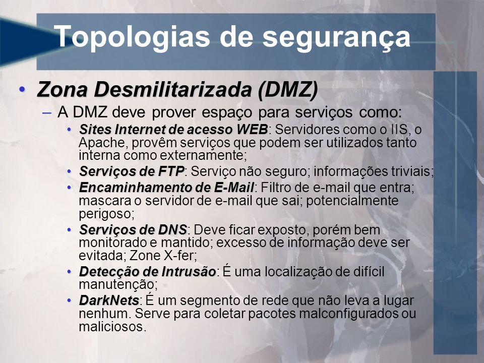 Topologias de segurança Zona Desmilitarizada (DMZ)Zona Desmilitarizada (DMZ) –A DMZ deve prover espaço para serviços como: Sites Internet de acesso WE