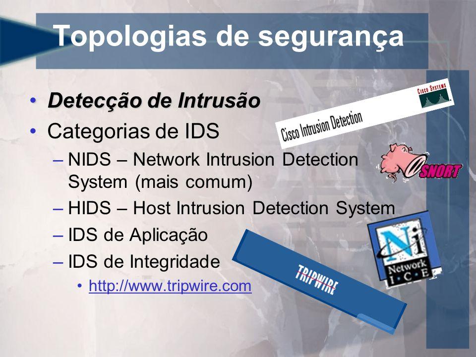 Topologias de segurança Detecção de IntrusãoDetecção de Intrusão Categorias de IDS –NIDS – Network Intrusion Detection System (mais comum) –HIDS – Hos