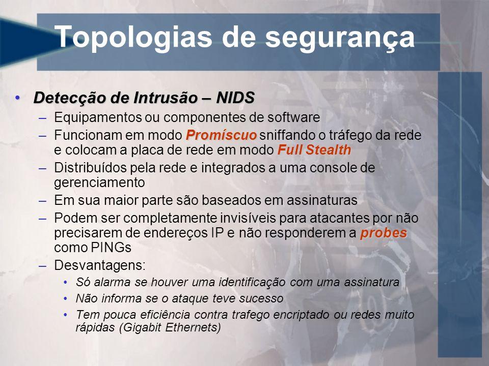 Topologias de segurança Detecção de Intrusão – NIDSDetecção de Intrusão – NIDS –Equipamentos ou componentes de software Promíscuo Full Stealth –Funcio