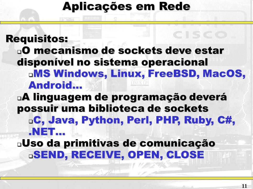 Aplicações em Rede Requisitos: O mecanismo de sockets deve estar disponível no sistema operacional O mecanismo de sockets deve estar disponível no sis