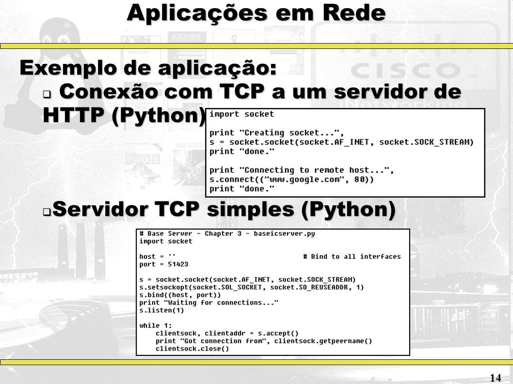 Aplicações em Rede Exemplo de aplicação: Conexão com TCP a um servidor de HTTP (Python) Conexão com TCP a um servidor de HTTP (Python) Servidor TCP si