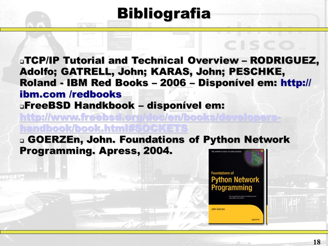 Bibliografia TCP/IP Tutorial and Technical Overview – RODRIGUEZ, Adolfo; GATRELL, John; KARAS, John; PESCHKE, Roland - IBM Red Books – 2006 – Disponív