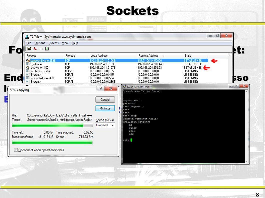 Sockets Forma de endereçamento de um socket: Endereço: Endereço: Exemplo: 8