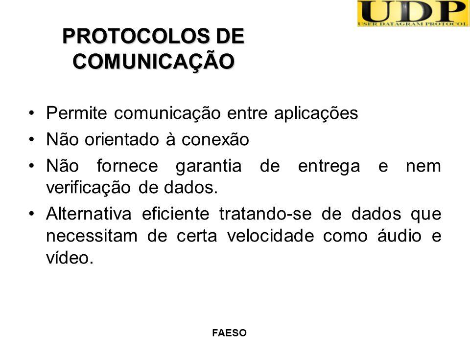 FAESO Permite comunicação entre aplicações Não orientado à conexão Não fornece garantia de entrega e nem verificação de dados. Alternativa eficiente t