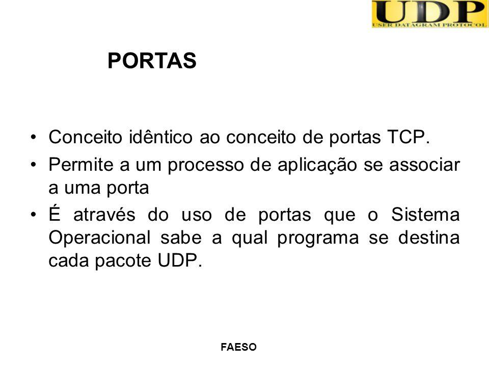 FAESO Conceito idêntico ao conceito de portas TCP. Permite a um processo de aplicação se associar a uma porta É através do uso de portas que o Sistema