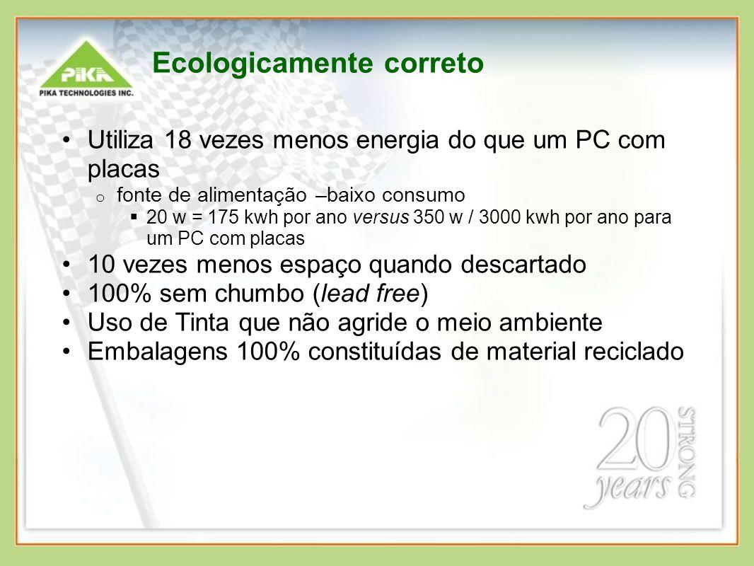 Ecologicamente correto Utiliza 18 vezes menos energia do que um PC com placas o fonte de alimentação –baixo consumo 20 w = 175 kwh por ano versus 350