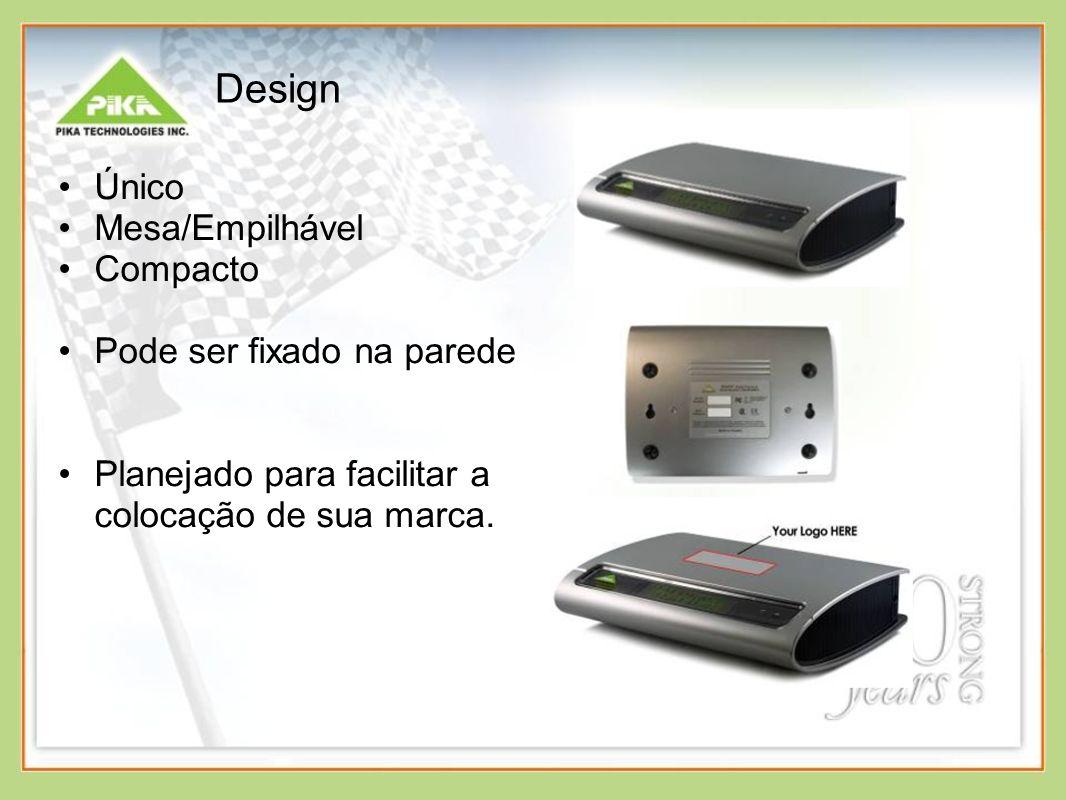 Design Único Mesa/Empilhável Compacto Pode ser fixado na parede Planejado para facilitar a colocação de sua marca.