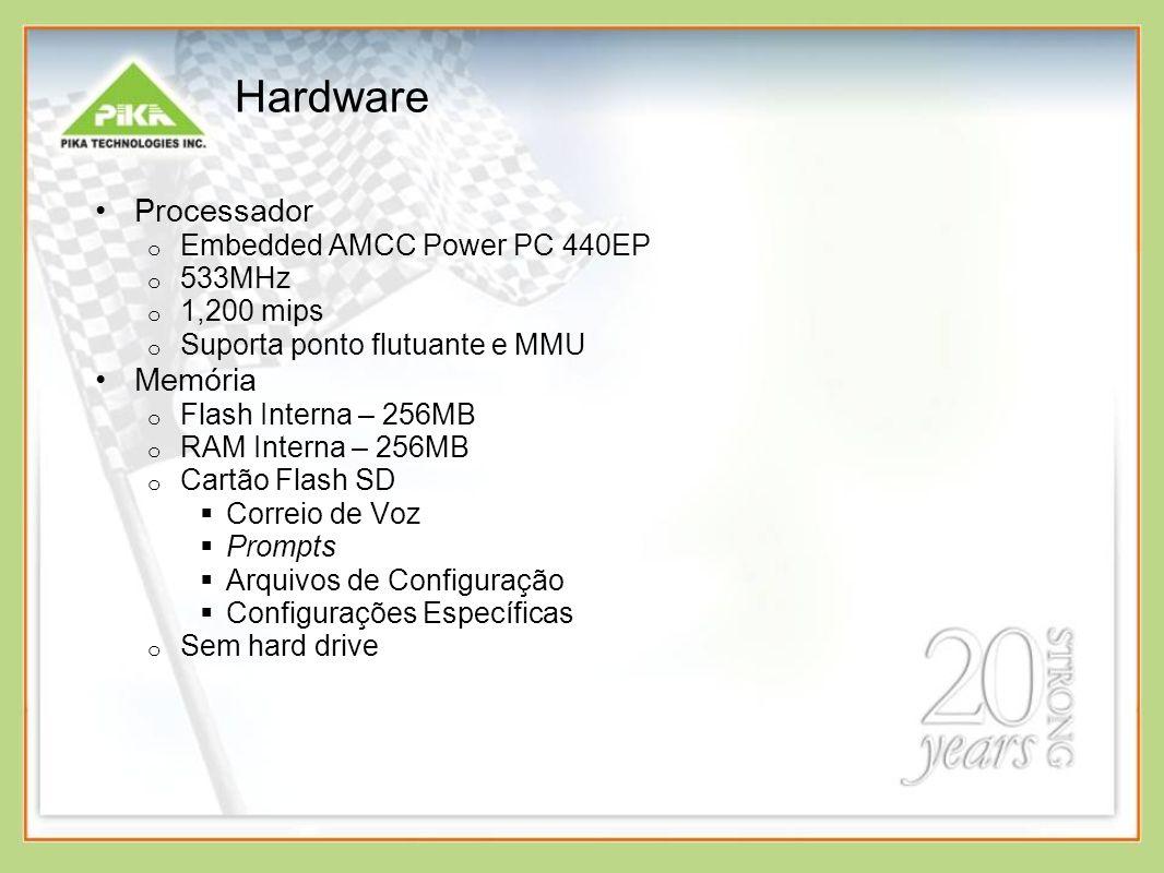Hardware Processador o Embedded AMCC Power PC 440EP o 533MHz o 1,200 mips o Suporta ponto flutuante e MMU Memória o Flash Interna – 256MB o RAM Interna – 256MB o Cartão Flash SD Correio de Voz Prompts Arquivos de Configuração Configurações Específicas o Sem hard drive