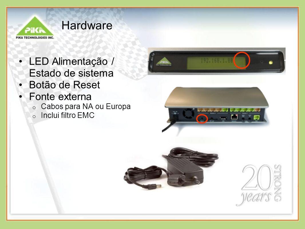 Hardware LED Alimentação / Estado de sistema Botão de Reset Fonte externa o Cabos para NA ou Europa o Inclui filtro EMC